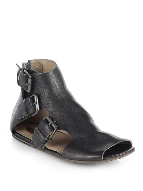 leather buckle sandals marsell leather buckle sandals in black lyst