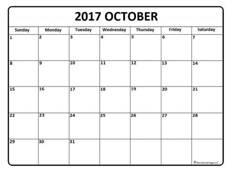 Blank October Calendar October Calendar 2017 Printable And Free Blank Calendar