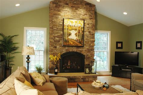 Fireplace Vaulted Ceiling by Stacked Rock Fireplace Living Room With