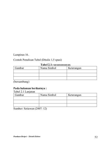 format penulisan tabel skripsi buku panduan skripsi teknik elektro