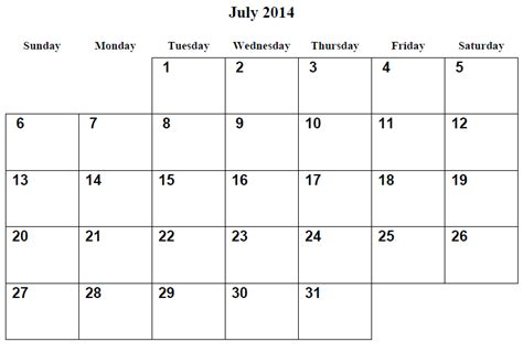 image gallery july 2014 calendar printable