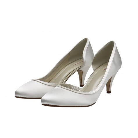 ivory satin shoes rainbow club abbie ivory satin court shoes shoes co uk