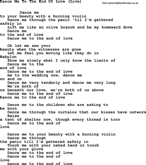 me testo leonard cohen song me end live lyrics
