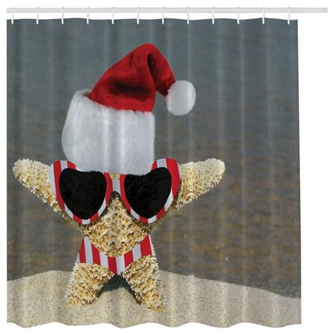 santa curtains holiday beach starfish santa christmas fabric digital art