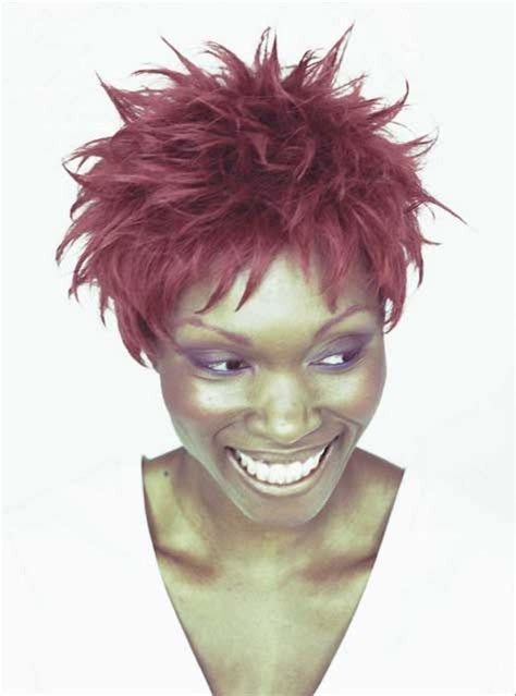 natural spike hairstyles for african american woman african american woman with red spiky hairstyle