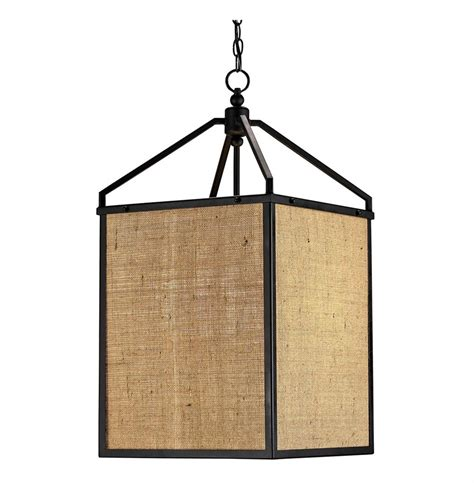 Burlap Pendant Light Walford Rustic Modern Burlap Box Shade Lantern Pendant L Kathy Kuo Home