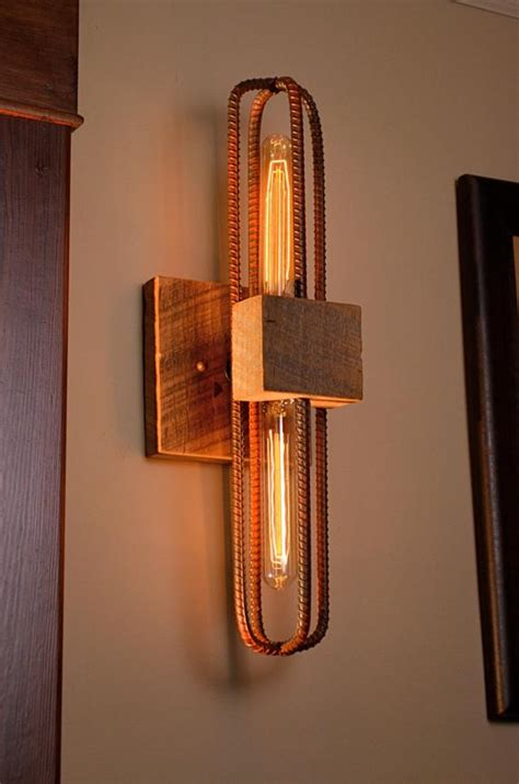 How To Make A Sconce Light Fixture by Rebar And Barn Wood Sconce Vanity Light Fixture In Rubbed