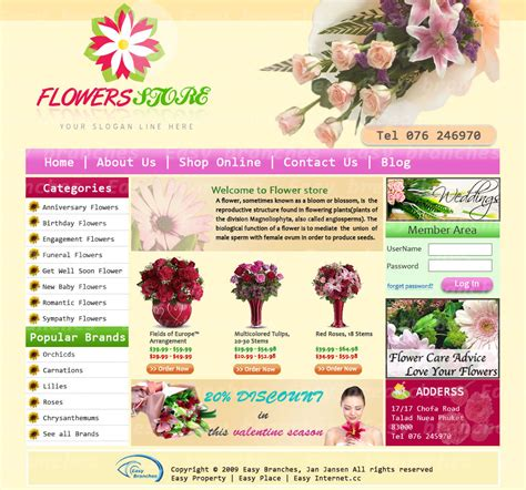 flower design website flower shop templates professional design by easy branches