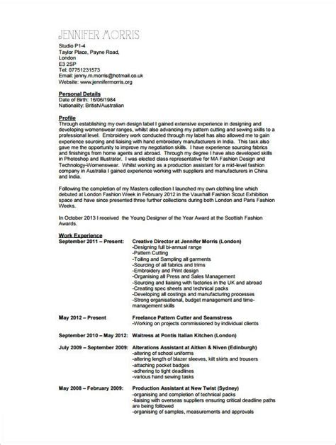 Fashion Design Resume by Fashion Designing Resume Format Resume Ideas