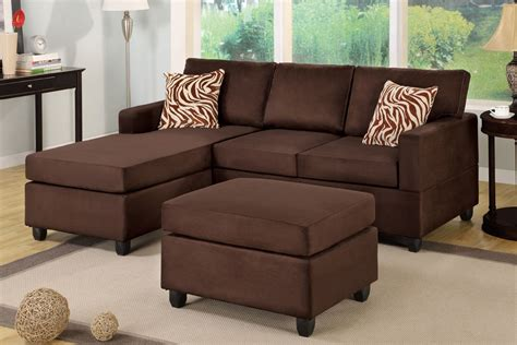 chocolate sectional with ottoman all in one microfiber plush sectional sofa with ottoman