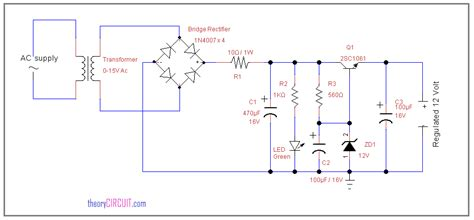 circuit diode zener 12 volt regulated power supply circuit using zener diode