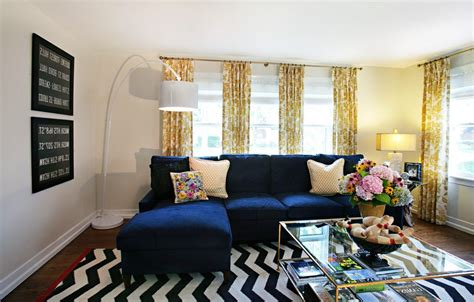 black white blue living room royal blue living room eclectic with subway sign chevron rugs