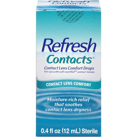 contact comfort refresh contacts contact lens comfort drops 0 4 fl oz 12