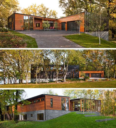 beside lake modern wooden house design olpos design this modern wood house was designed for a family to live