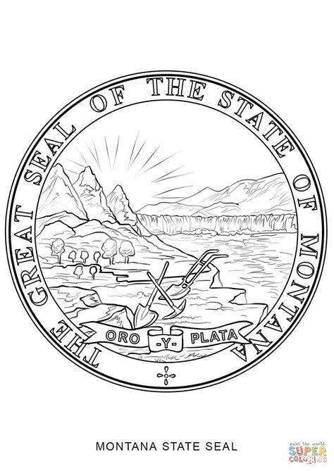 Montana State Seal Coloring Page Free Printable Coloring Montana Coloring Page