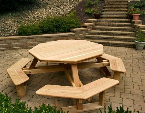 furniture hexagon table picnic table plans  separate