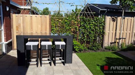 wicker tuin bar lounge set loungeset lounche bar tafel set terras tuin zwart wicker