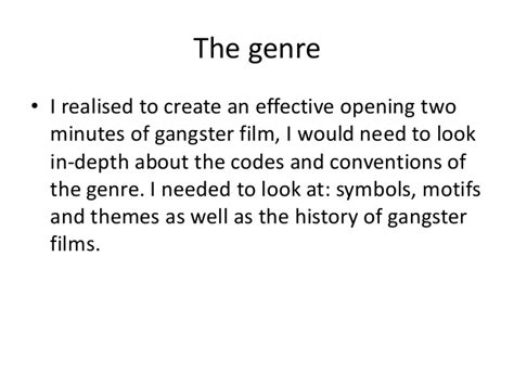 gangster film genre conventions gangster genre research
