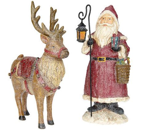 vintage frost santa and reindeer figurines by valerie