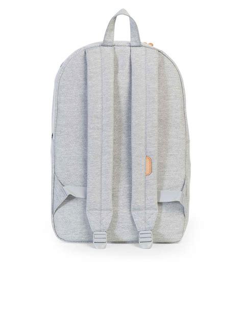 Theodor Backpack Heritage Series Grey Color herschel heritage light grey crosshatch stripe veggie leather backpack backpacks