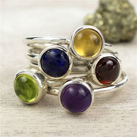 Handmade Gemstone Rings - vibrant sterling silver gemstone stacking ring by alison