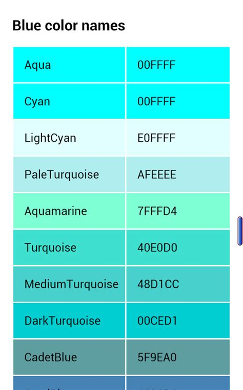 color similar to teal names of rgb colors designer android apps on play