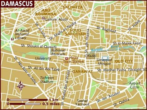 damascus on a map map of damascus