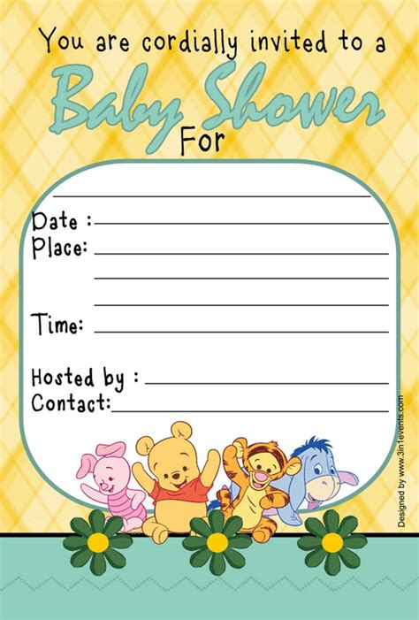 winnie the pooh baby shower invitations templates home