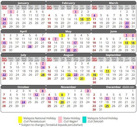 malaysia kalendar cuti sekolah cuti umum 2018
