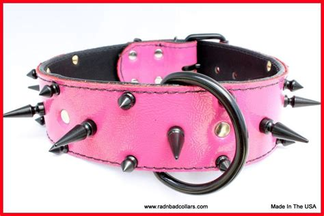 pink spiked collar handmade pink leather spiked collar for a by rad n bad collars custommade