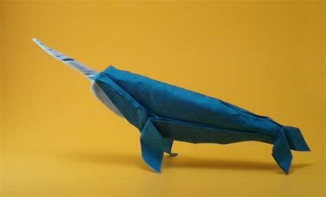 Origami Narwhal - origami animal sculpture by szinger book review