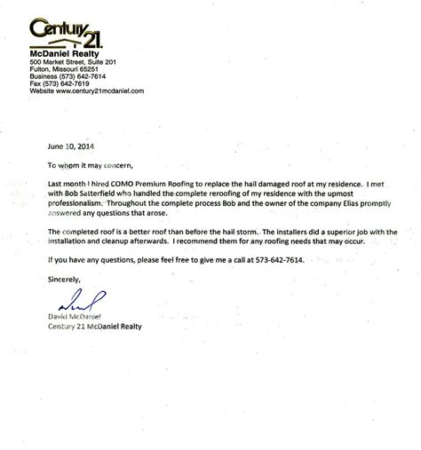 Service Letter In Missouri Mcdaniel Letter Of Recommendation Missouri Como Premium Exteriors Roofing And Siding