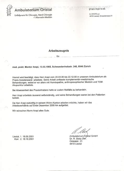 Bewerbungsschreiben Assistenzarzt Innere Medizin Staatsexamen In Human Medizin Uni Pristina