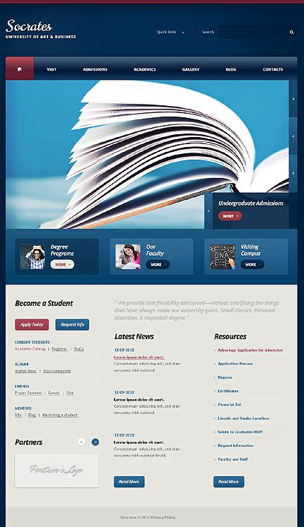 Drupal Themes With Slider Free Download | dark blue university drupal template