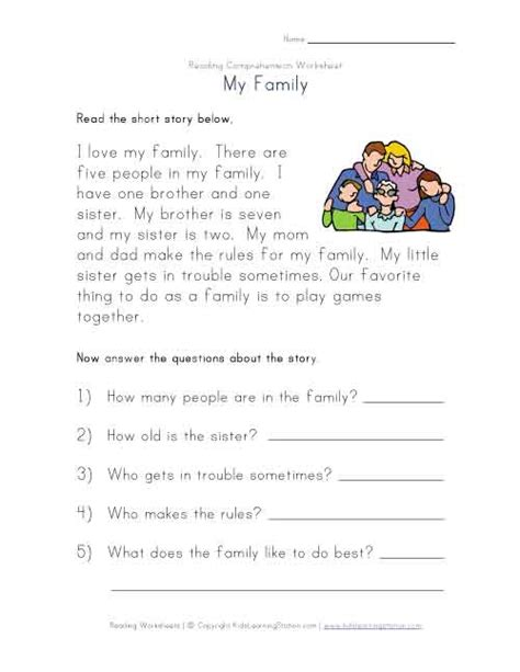Ela Comprehension Worksheets by Reading Comprehension Worksheet My Family