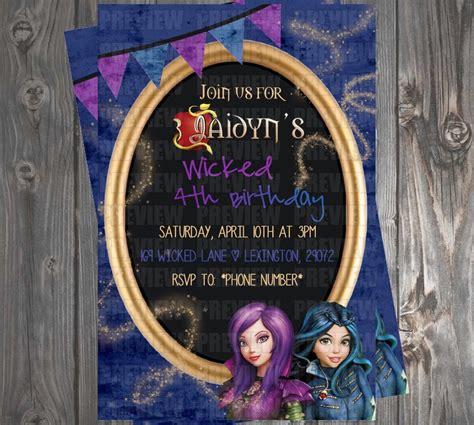 disney descendants party descendents birthday by disney descendants wicked world birthday party invitations