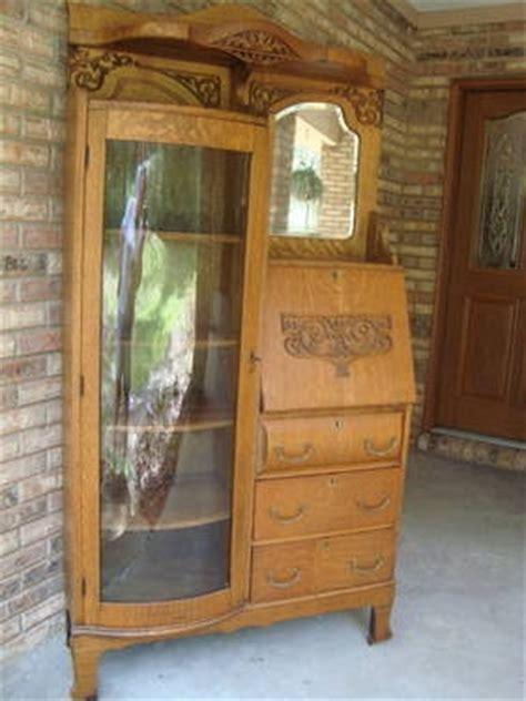 1920'S ANTIQUE OAK SIDE BY SIDE SECRETARY DESK CURIO CABINET SHELF for Sale in Orange City