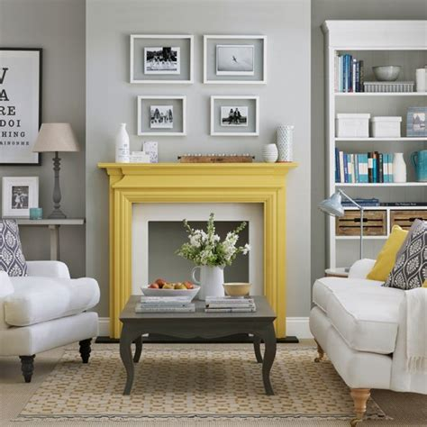 yellow fireplace grey living room with yellow fireplace how to decorate