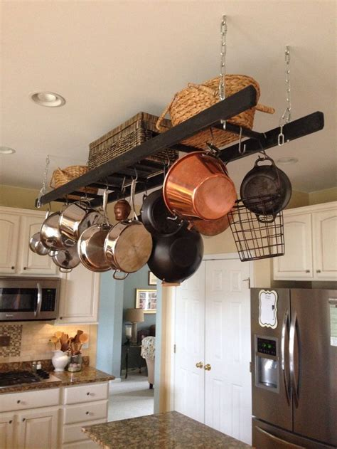 kitchen pot rack ideas ladder utensil shelf repurpose upcycle pinterest