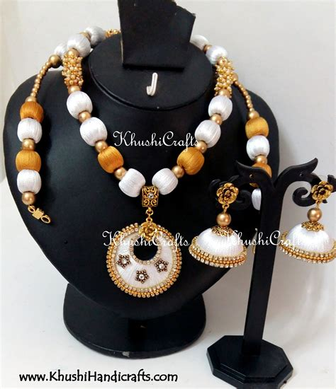 Handmade Thread Jewellery - white and gold silk thread bridal necklace set silk