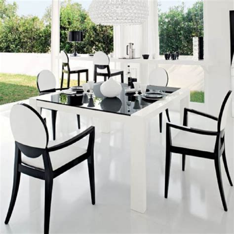 Black And White Dining Table And Chairs Furniture Minimalist Dining Room Decoration Ideas With