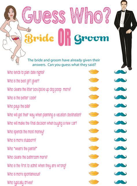 "Printable Bridal Shower Game ""Guess Who?""   Printable"