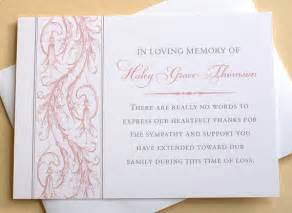 sympathy thank you cards pink personalized flat cards
