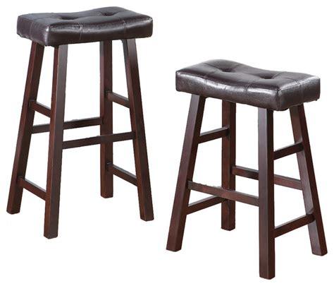 set of 2 barstools stools faux leather saddle seat brown
