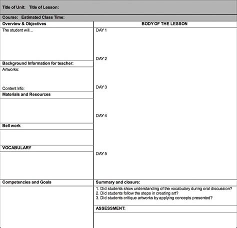 lesson plan template of an