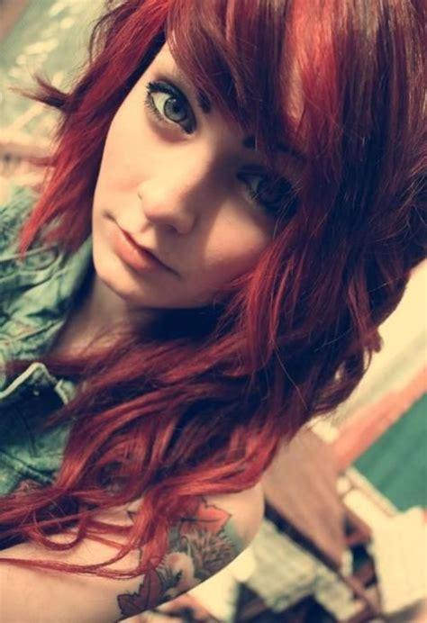 Emo Hairstyles Burgundy | beautiful scene girl with maroon burgundy hair scene