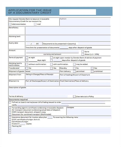 Documentary Credit Format 32 Credit Application Forms In Pdf