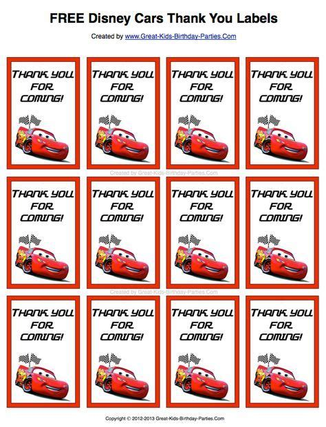 lightning mcqueen thank you cards printable free disney cars thank you labels print them on sticker