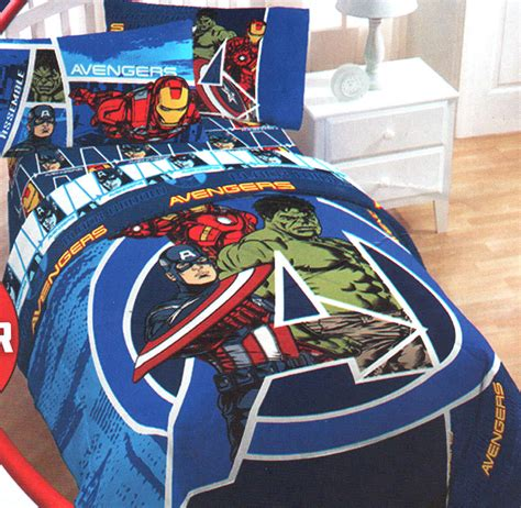 superhero bedroom set marvel comics avengers assemble twin full comforter blue