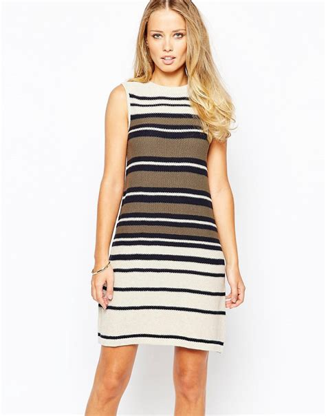 striped swing dress warehouse warehouse sleeveless stripe swing dress at asos
